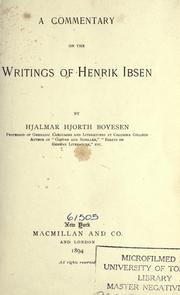 Cover of: A commentary on the works of Henrik Ibsen