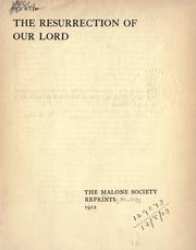 Cover of: The resurrection of Our Lord by