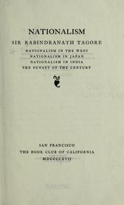 Cover of: Nationalism by Rabindranath Tagore