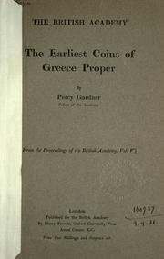 Cover of: The earliest coins of Greece proper