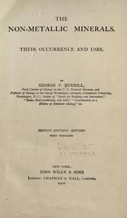 The non-metallic minerals by George P. Merrill