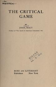 Cover of: The critical game