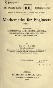 Cover of: Mathematics for engineers