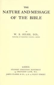 Cover of: The nature and message of the Bible