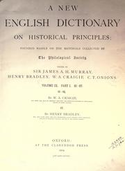 Cover of: A new English dictionary on historical principles (vol 9, pt 1)
