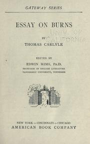 Cover of: Essay on Burns