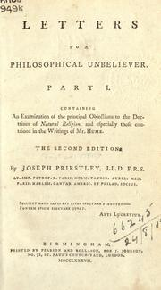 Letters to a philosophical unbeliever by Priestley, Joseph