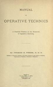 Manual of operative technics by Thomas E. Weeks