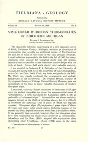 Some lower Huronian stromatolites of northern Michigan by Eugene S. Richardson, Jr.