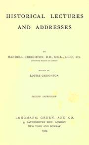 Cover of: Historical lectures and addresses
