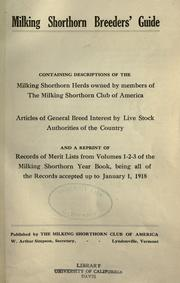 Milking shorthorn breeders' guide by Milking Shorthorn Club of America.