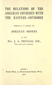 The relations of the Anglican churches with the Eastern-Orthodox