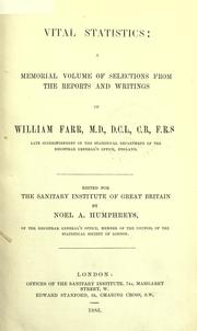 Cover of: Vital statistics: a memorial volume of selections from the reports and writings of William Farr