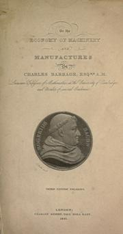Cover of: On the economy of manufactures