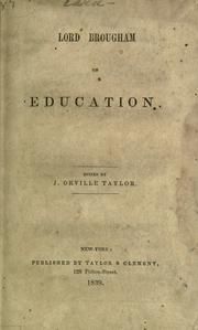 Cover of: Lord Brougham on education