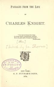 Cover of: Passages from the life of Charles Knight