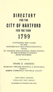 Cover of: Directory for the city of Hartford for the year 1799 by Andrews, Frank D.