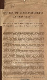 Cover of: Duties of Massachusetts at this crisis