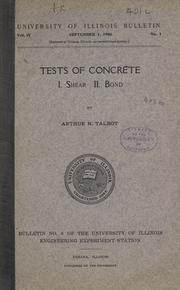 Cover of: Tests of concrete