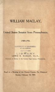 Cover of: William Maclay