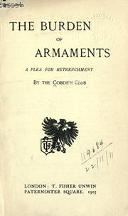 The burden of armaments by Cobden Club (London, England)