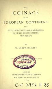 Cover of: The coinage of the European continent
