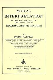 Cover of: Musical interpretation | Tobias Matthay