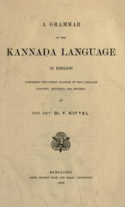Cover of: A grammar of the Kanna©øda language in English