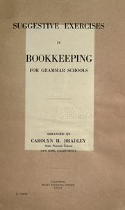 Cover of: Suggestive exercises in bookkeeping for grammar schools