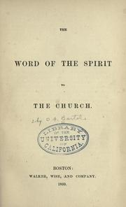 Cover of: The word of the Spirit to the church