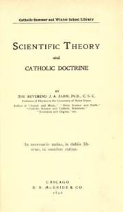 Cover of: Scientific theory and Catholic doctrine by John Augustine Zahm