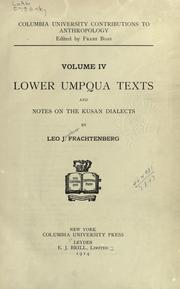 Cover of: Lower Umpqua texts and notes on the Kusan dialects
