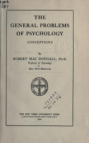 Cover of: The general problems of psychology