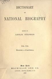 Cover of: Dictionary of national biography | Edited by Leslie Stephen