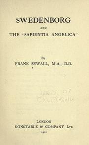 Cover of: Swedenborg and the 'Sapientia angelica,'
