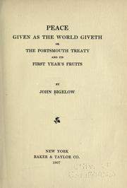 Cover of: Peace given as the world giveth