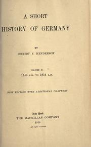 Cover of: A short history of Germany. by Ernest F. Henderson