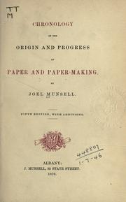 Cover of: Chronology of the origin and progress of paper and paper-making