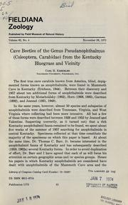 Cover of: Cave beetles of the genus Pseudanopthalmus (Coleoptera, Carabidae) from the Kentucky Bluegrass and vicinity