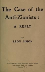 The case of the anti-Zionists by Simon, Leon