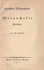 Cover of: Melancholie, gedichte