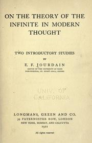 Cover of: On the theory of the infinite in modern thought