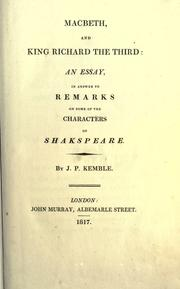 Macbeth, and King Richard the Third by John Philip Kemble