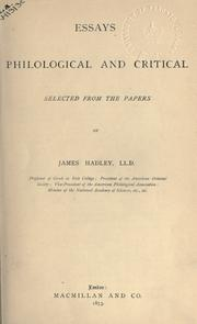 Cover of: Essays: philological and critical, selected from the papers.