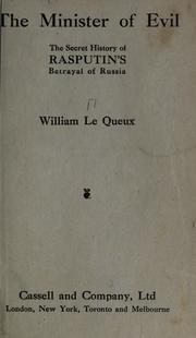 Cover of: The Minister Of Evil | William Le Queux