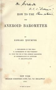 Cover of: How to use the aneroid barometer