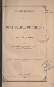 Cover of: Suggestions for observing the total eclipse of the sun on January 1, 1889