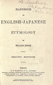 Cover of: Handbook of English-Japanese etymology