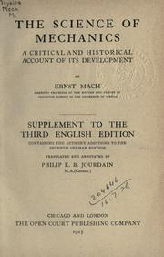Cover of: The science of mechanics.  Supplement to the Third