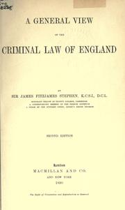 Cover of: A general view of the criminal law of England